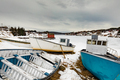 Small fishing boats beached for winter NL Canada - PhotoDune Item for Sale