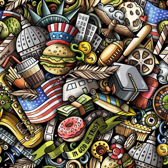 Cartoon Doodles USA Seamless Pattern