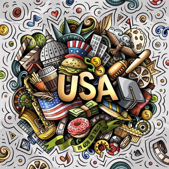 USA Hand Drawn Cartoon Doodle Illustration