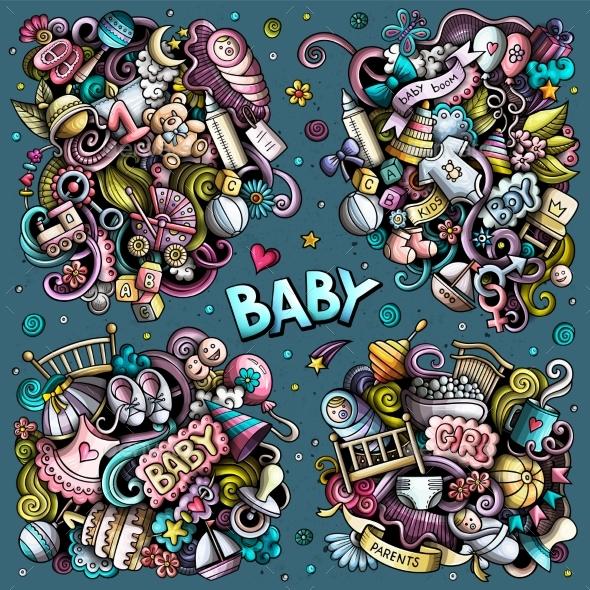 Baby Cartoon Vector Doodle Designs Set