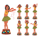 Dancing Hawaiian Doll Vector Cartoon Girl Character Set. - GraphicRiver Item for Sale