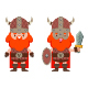 Vector Cartoon Flat Viking With In Helmet, With A Shield And A Sword. - GraphicRiver Item for Sale