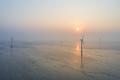 aerial view of wind farm on tidal flat wetland in sunrise - PhotoDune Item for Sale