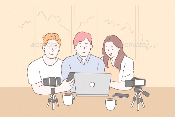 Vlogging Live Streaming From Laptop Concept