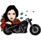 Vector Head Girl with Roses and Motorcycle - GraphicRiver Item for Sale