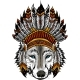 Indian Wolf with Feathers Hat Vector Illustration - GraphicRiver Item for Sale