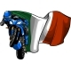 Cornering Motorbike Racer with Italian Flag Vector - GraphicRiver Item for Sale