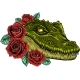 Vector Illustration of Crocodile Head with Roses - GraphicRiver Item for Sale