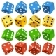 Game dice set. Vector red, yellow, green and blue  - GraphicRiver Item for Sale