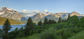 Panorama of mountains in Glacier National Park above Lower Two Medicine Lake at sunrise - PhotoDune Item for Sale