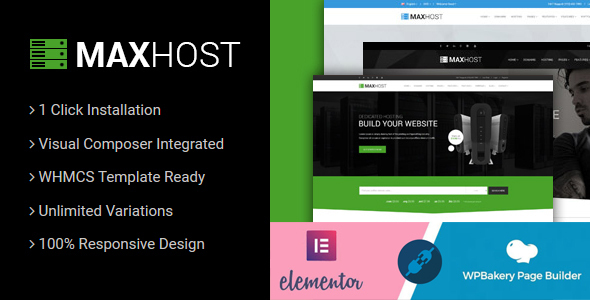 MaxHost – Web Hosting, WHMCS and Corporate Business WordPress Theme with WooCommerce, Gobase64