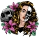 Woman Face with Skull and Flower Illustration - GraphicRiver Item for Sale