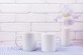 Placeit - Two coffee mug mockup with iris flowers - PhotoDune Item for Sale