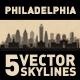 Philadelphia Pennsylvania USA City Skyline Set - GraphicRiver Item for Sale