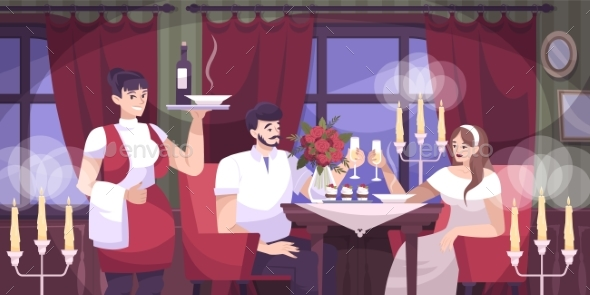 Romantic Couple Cafe Flat Composition