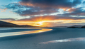 Sunset over the huge sandy beach at Luskentyre - PhotoDune Item for Sale