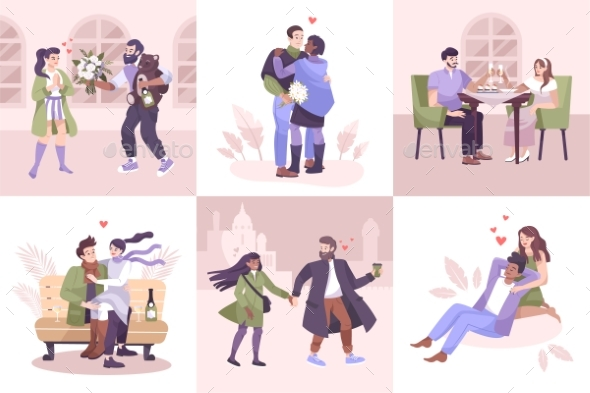 Flat Romantic Couple Composition Icon Set
