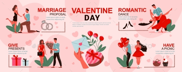 Romantic Valentines Day Infographics