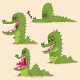 Alligator Crocodile Vector Cartoon Character Set - GraphicRiver Item for Sale