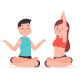Yoga Couple Doing Exercises In Different Poses Vector Cartoon Character. - GraphicRiver Item for Sale