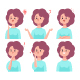 Girl Vector Cartoon Character Set With Emotions. - GraphicRiver Item for Sale
