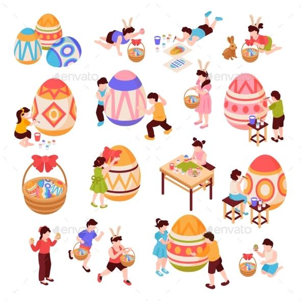Easter Isometric Icons Set