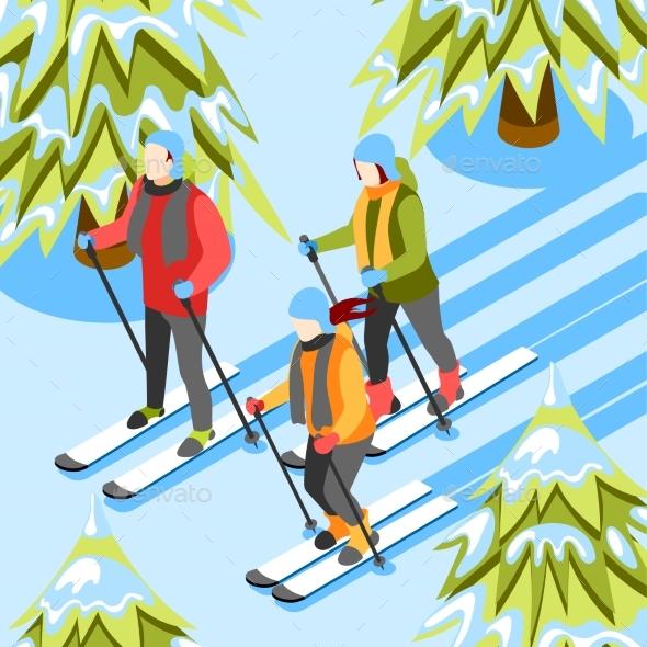 Winter Fun Isometric Background