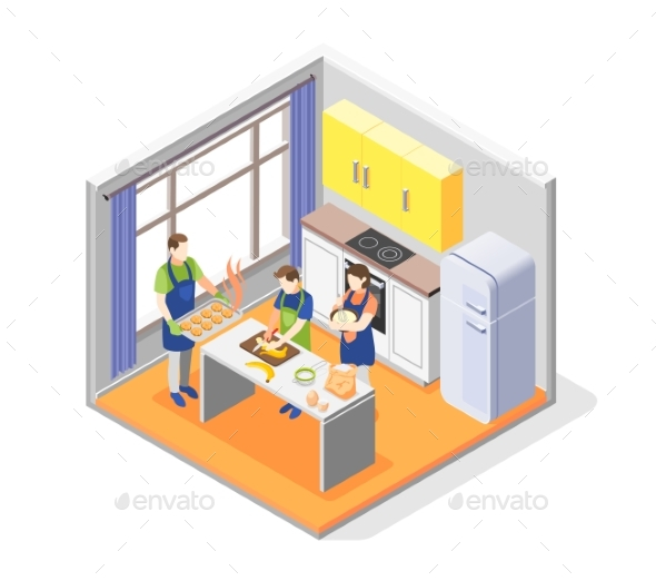 Family Cooking Together Concept