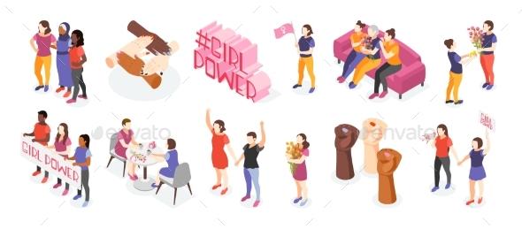 International Women Day Isometric Icons