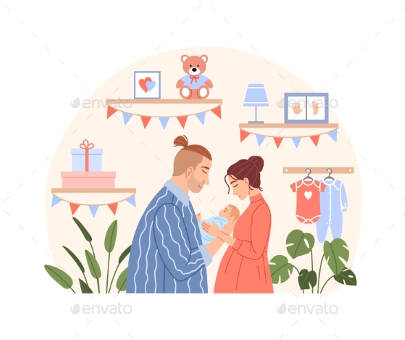 Happy Family with Newborn Baby Flat Concept
