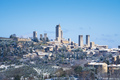 San Gimignano snowy town, towers skyline and vineyards. Tuscany, Italy - PhotoDune Item for Sale