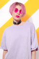 Model wearing casual summer look and stylish accessories choker and sunglasses. - PhotoDune Item for Sale