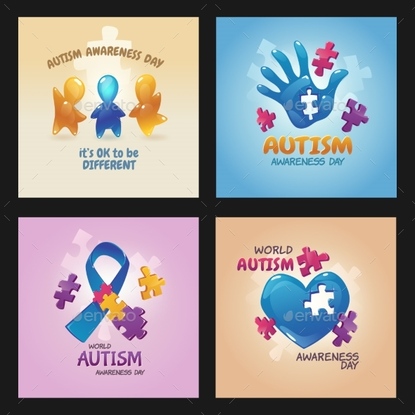 Autism World Awareness Day Posters with Puzzle