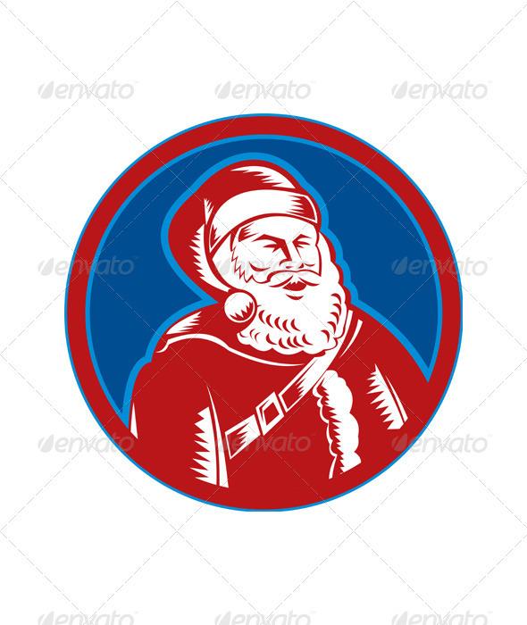 Santa Claus Father Christmas Woodcut