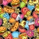 Seamless Pattern with Cute Kawaii Fast Food Meal - GraphicRiver Item for Sale