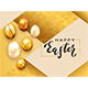 Golden Easter Eggs and Lettering Happy Easter on Gold Background - GraphicRiver Item for Sale