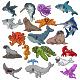 Set of Nineteen Cute Cartoon Ocean Animal - GraphicRiver Item for Sale