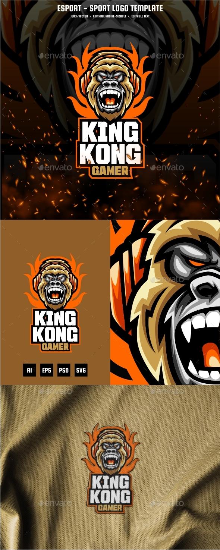 Kingkong Gaming E-sport and Sport Logo Template