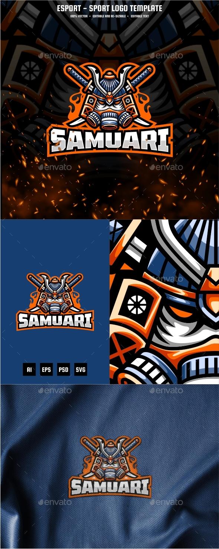 Samurai E-sport and Sport Logo Template