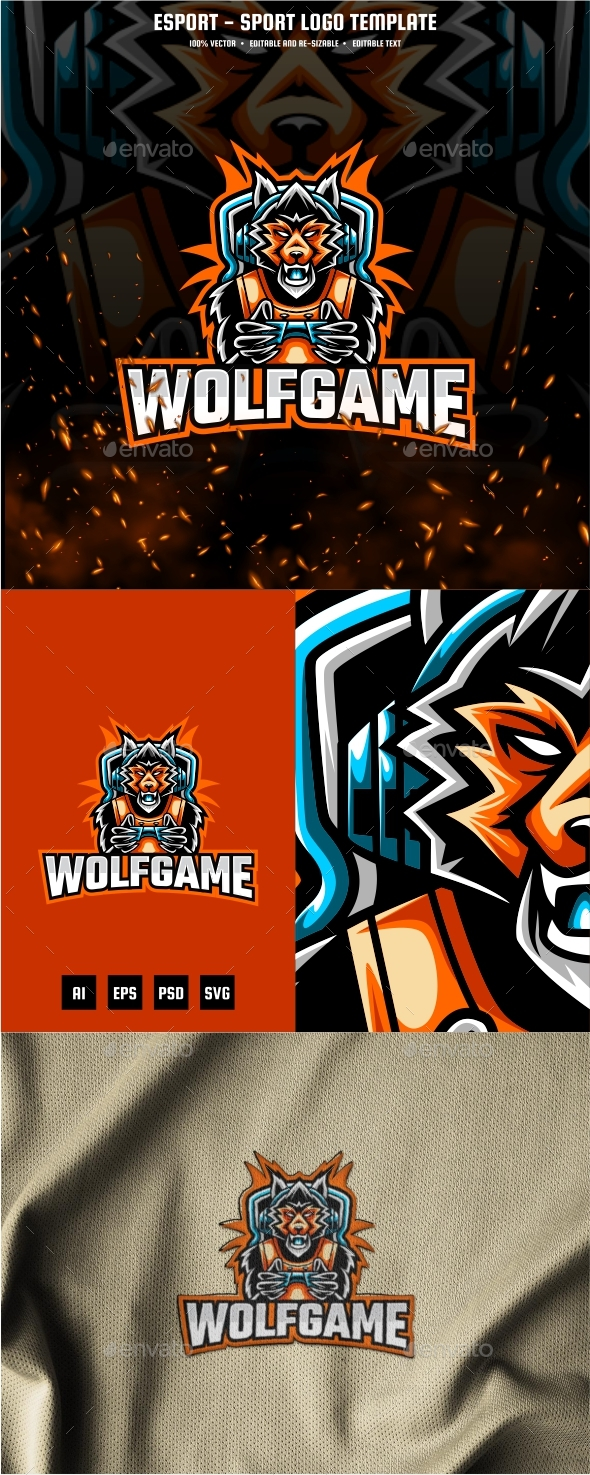 Wolf Gaming E-sport and Sport Logo Template