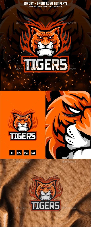 Tiger Head E-sport and Sport Logo Template