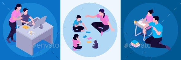 Homeschooling Isometric Concept