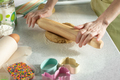 dough with rolling pin on kitchen table - PhotoDune Item for Sale