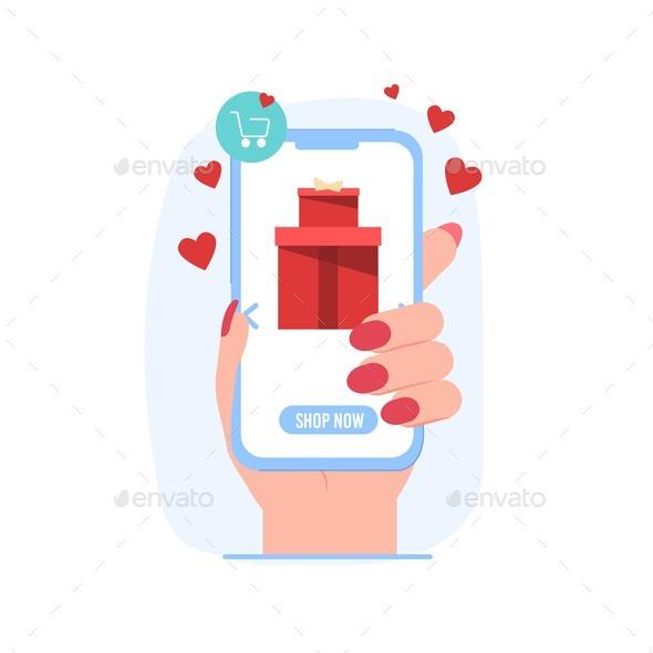 Flat Cartoon Valentine Day Online Shopping Sales