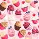 Seamless Vector Pattern with Pastel Pink Cupcakes - GraphicRiver Item for Sale