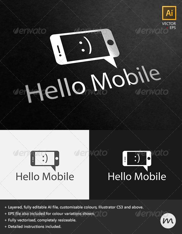 'Hello Mobile' Social Phone Logo Template