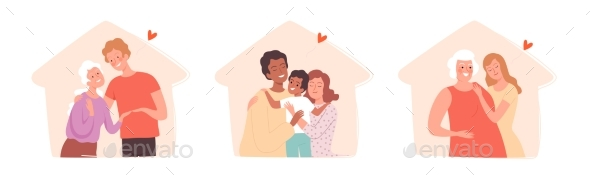 People with Family in Home Silhouettes