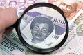 Old Ghanaian money in a magnifying glass a business background - PhotoDune Item for Sale