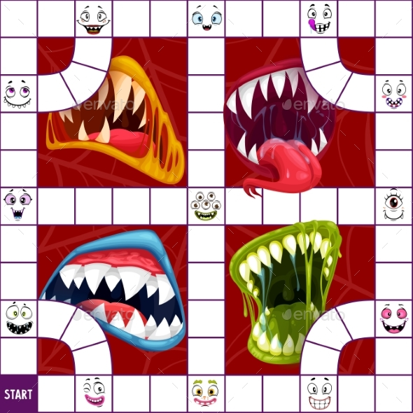 Children Board Game Puzzle with Halloween Monster
