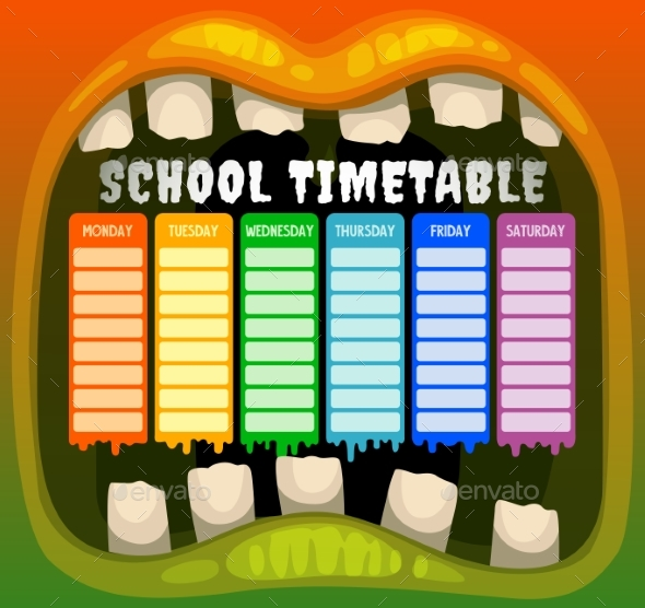 School Timetable in Halloween Monster Mouth Frame
